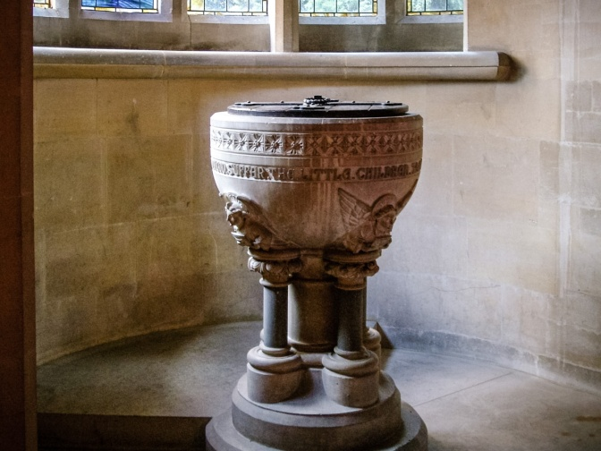 Picture of the font at St Paul's church Four Elms