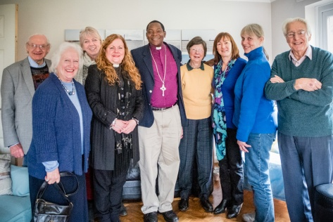 Bishop Given of Kondoa, Tanzania pictured with parishioners of the Benefice of Hever, Four Elms and Markbeech, in Kent UK. From left to right: Leslie Grtiggs, Jill Linden, Marie-Louise Linklater, Rev Jane Weeks, Bishop GIven Gaula, GIll Lambert, Carole Feakes, Jane Rosam, and Len Linden