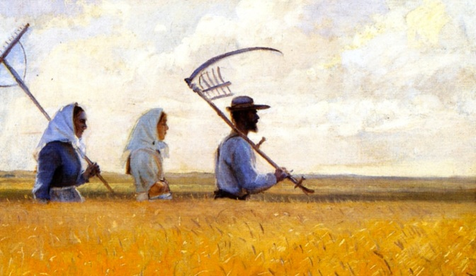 Painting of farming folk walking through the corn with harvest tools